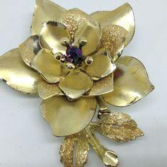 Signed CORO Vintage FLOWER BROOCH PIN Aurora Borealis Bead Gold Tone Jewelry #Coro $5.00 Sale! #ebay #vintagebrooch #flowerbrooch #corojewelry