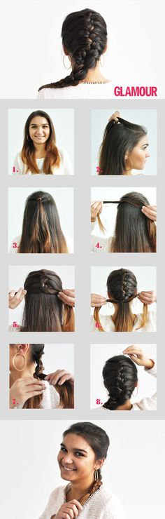 Braid: The French braid – Pigtail Hairstyles French Braid Hairstyles, Braided Hairstyles, Cool Hairstyles, Braids For Short Hair, Short Hair Styles, Natural Hair Styles, Step Fitness, Braids Step By Step, Girls Braids