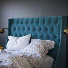Peacock velvet bed head - we can custom make these Www.interiordesignonline.co.nz