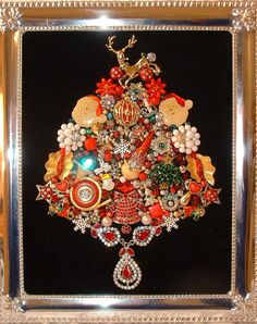 Vintage CHRISTMAS JEWELS Jewelry Framed Jeweled Christmas Tree - Rhinestones - Sparkling Jewels on Black Velvet