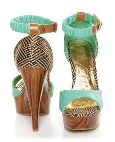 Mona Mia Trinidad Mint, Black & Tan Woven Platform Heels