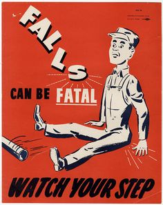 Vintage 1930s Falls Can Be Fatal Workplace Incentive Art Deco Poster Print Bold | eBay
