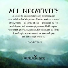 Negativity  comes from the past and not enough presence