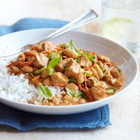 TRIED & TRUE!  Coconut Chicken Stew- (they call it a chili, but it really seems more like stew). Don't let the coconut fool you, this is a Savory stew, the coconut adds a rich creaminess. ~J