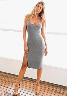 36292a279057 Full front shot of model in a grey side-slit cami dress Summer Dress Outfits