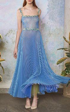 Tulle Pois Plisse Midi Ballerina Dress by LUISA BECCARIA for Preorder on Moda…