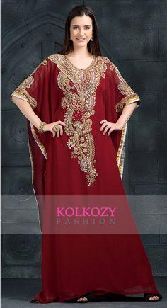 Atractivo Color marrón Kaftan vestido Dubai por KolkozyShop