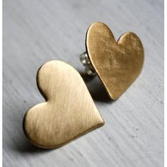 brushed metal gold heart studs