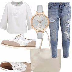 Un jeans boyfriend leggermente strappato abbinato ad una blusa bianca manica a tre quarti. Ho immaginato questo outfit con delle stringate bianche e beige ed una shopping bag da giorno capiente e comunque comoda. Come accessorio un bell'orologio a maglia grande.