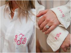 monogrammed button up shirt to wear while getting ready before putting on your wedding dress. + 'i do' + 'wedding date'