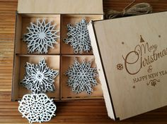 Awesome Christmas Wood Snowflake!  Big Set of 8-20 Wooden Snowflake Ornaments, Laser engraved, Laser cut, Wood Christmas Decoration, Snowflakes, Christmas tree ornaments, Christmas Gift, Christmas Ornament in Gift Box.  Decorate your home, Christmas tree, car, office, colleagues and friends.  This wooden snowflakes makes the unique present for Christmas 2016 and New Year 2016, Also, it could be a cute gift for yourself and a perfect item for your Christmas tree.  You can personalize box with…