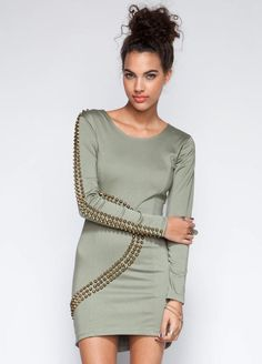 Women's #Fashion Clothing: #Dresses: Maurie & Eve Cherokee Dress in Gray with Metal Studding: Clothes