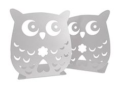 Owl Wonderland Bookends Cute Baby Owls White Metal Decor for Home Study Office Kids Room or Nursery. Unique Gift. Owl Wonderland