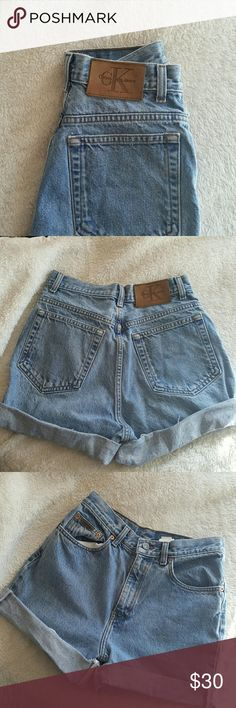 Vintage High-waisted Calvin Klein shorts Light blue vintage calvin klein shorts (high-waisted) with logo patch on the back and small one on the front...grate condition wish I could keep these but sadly they are not my size ...feel free to make any offers Calvin Klein Jeans Shorts Jean Shorts