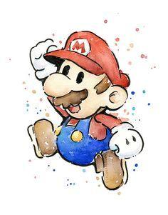 Mario Portrait Watercolor Art Print, Geek Videogame Nintendo Supermario Decor