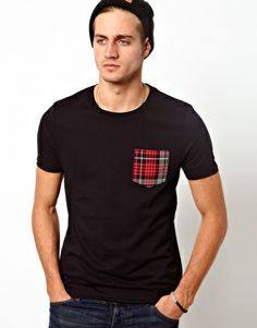 Image 1 ofASOS T-Shirt With Contrast Check Pocket
