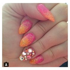 Summer pink orange glitter fade acrylic stiletto nails rhinestones ❤ liked on Polyvore featuring nails