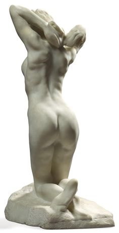 "Faunesse à genoux"" (The Kneeling Female Faun) Auguste Rodin Marble, signed and dedicated to Maître Puvis de Chavannes on the base, H. 52 cm...."