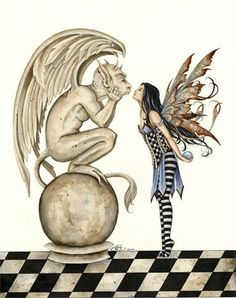 Amy Brown The Kiss Gargoyle & Fairy Print -- Limited Edition