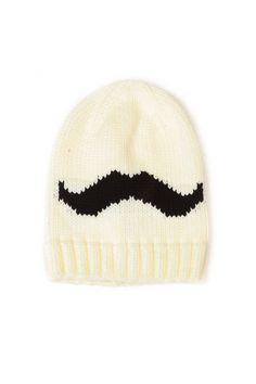 Ivory Slouchy Mustache Beanie