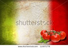 Traditional Italian flag with tomatoes and basil by MilaCroft, via ShutterStock