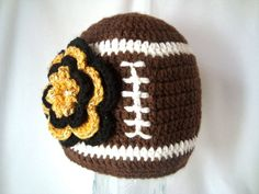 Crochet Football Hat with Team Color Flower