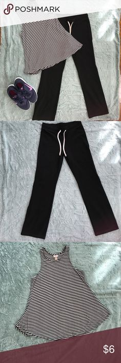 Mossimo sweat pants and striped tank Mossimo black sweat pant size medium and Mossimo black and white tank size large Mossimo Supply Co Pants Track Pants & Joggers