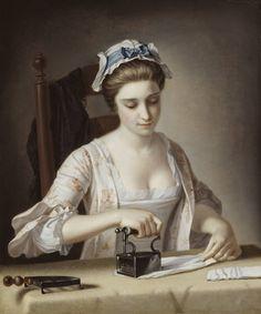 Henry Robert MorlandA Laundry Maid Ironing