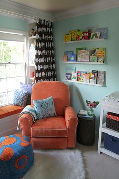 I love this reading nook. I have always wanted one. The colors would be different but I love the bench and the windows and the bookcases on the ends.