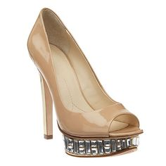 """Boutique 9 jeweled peep toe pump with all leather upper. 5 1/2"""" heel and 1 1/2"""" platform."""