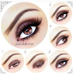 """La Bella- PictPorial for a sultry brown smokey eye. roducts used by Motives by Loren  ~ Prime your eyelids  1 - Apply """"Hazelnut"""" all over the lid  2 - Apply """"Antique Gold"""" on to the crease - Blend using """"Antique Pink"""" & """"Antique Gold""""  3 - Apply """"Creme Fresh"""" on to the brow bone and add a thin winged eyeliner 4 - Apply mascara, black eyeliner pencil and """"Hazelnut"""" eyeshadow on to the lower lash line  5 - Add """"Noir Fairy"""" in brown by @Allison j.d.m House of Lashes to complete the look!"""