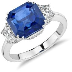 Blue Nile Sapphire and Diamond Three-Stone Ring ($37,000) ❤ liked on Polyvore