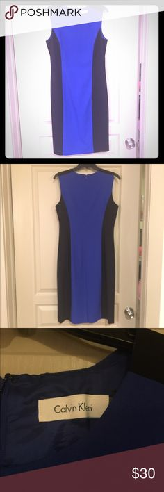 Black and blue dress from Calvin Klein! 💙 Blue and black dress from Calvin Klein!! Only worn twice for networking events! Perfect for looking stylish at work or a networking happy hour!! And the blue design is so flattering. Pair with jewelry or a jacket and some cute pumps for an awesome outfit!! 👍🏼 Calvin Klein Dresses Midi