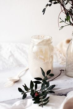 This tasty dairy-free yogurt is made of almonds, honey and probiotic powder - if you love thick yogurt try to mix in some agar agar.
