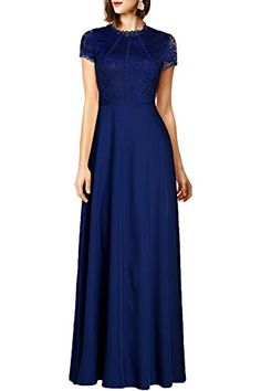 WOOSEA Women's Retro Floral Lace Wedding Maxi Bridesmaid Long Dress (XX-Large, Navy Blue) ** Visit the image link more details.