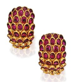Pair of 18 Karat Gold and Ruby 'Fish Scale' Earclips, René Boivin, Circa 1967