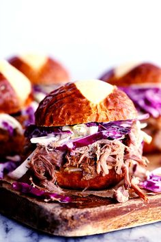 Slow Cooker Sweet Carolina Pulled Pork Sliders are crazy tender, juicy and messy, the way a slider should be! The ...