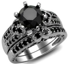 2.42CT ROUND BLACK DIAMOND ENGAGEMENT RING HEART WEDDING SET 14K GOLD | eBay