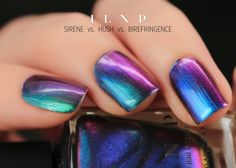 """I do not possess the linguistic capacity to express the """"awesomeness"""" of this nail polish. But for you, I'll try.  Birefringence is a jaw droppingly beautiful polish that effortlessly stops people in their tracks. Planning on having a meaningful face-to-face conversation with a friend? Plan on an abrupt derailment as soon as he/she notices what your nails are up to. Remember though, it's not their fault; you were warned!   Birefringence shifts through an array of incredible blues, purples, r..."""