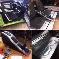 Custom Mustang interior. sheet metal aluminum art bead roll door panels console bead rolled work sheetmetal