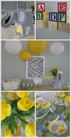 "Grey and Yellow ALPHABET Shower    My husband and I were once invited to an Alphabet Shower. The letter U was our challenge — we bought the couple nice golf umbrellas and presented them along with our own version of ""I Got U babe."" It was fun."