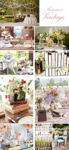 If you are planning a summer vintage wedding you could include floral details, floral bunting, pretty pastel colors, cut glass vases or jam jars decorated with lace for your flowers