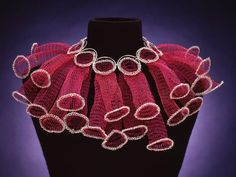 Arline Fisch - Pink & Silver Circles - Machine knit - coated copper, silver crochet, and sterling. Wire Crochet, Crochet Art, Wire Jewelry, Jewelry Art, Jewelry Design, Knitted Necklace, Textiles Techniques, Body Adornment, Argent Sterling