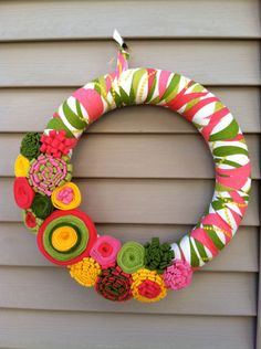 Spring Wreath Patterned Fabric Decorated with by stringnthings