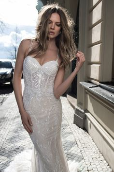 berta fall 2015 bridal sleeveless sheath wedding dress sequinned bodice close up