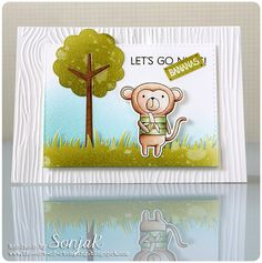 "handgemachte Karte | handmade card - My Favorite Things ""Cheeky Monkey"", ""Forest Friends"", ""tree-menduous"", Simon Says Stamp ""Stitched Rectangles"", Lawn Fawn ""Grassy Border"", We R Memory Keepers ""Woodgrain"" embossing folder, Polychromos, Luminance, Distress Inks"