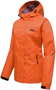 Amazon.com: Wantdo Women's Windproof Breathable Front Zip Hooded Outdoor Windbreaker Jacket Orange S: Clothing