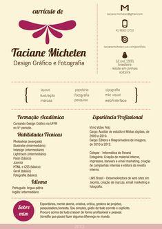 Currículo de Taciane Micheten - Designer Gráfico