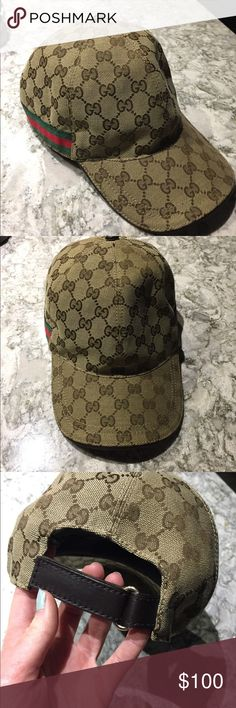 Gucci GG Canvas baseball hat Barely worn still in perfect condition Gucci hat. It has an adjustable strap in the back Gucci Accessories Hats
