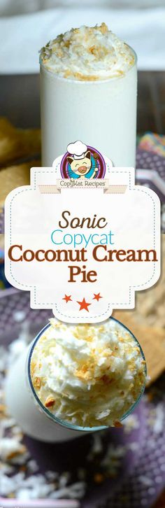 Make your own Sonic Coconut Cream Pie Shake at home with this easy copycat recipe. Enjoy all the flavors of the classic pie blended in a creamy milkshake. Copycat Recipes Desserts, Coctails Recipes, Copykat Recipes, Shake Recipes, Ice Cream Recipes, Vitamix Recipes, Recipies, Ice Cream Deserts, Frosty Recipe
